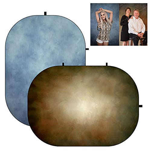 Kate 5x6.5ft(1.5x2m) Collapsible Backdrop Blue Brown Texture Folding Double Sided...