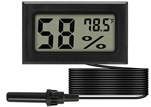 Mini Probe Hygrometer Thermometer, Fahrenheit Reptile Aquarium Thermometer Digital LCD Display Indoor Outdoor Humidity Meter Gauge for Tank Humidifiers Dehumidifiers Greenhouse Basement (1-Pack)