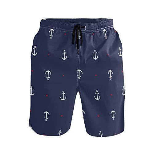 BONIPE - Bañador para hombre, diseño náutico de ancla, secado rápido, con cordón y bolsillos Multicolor multicolor M