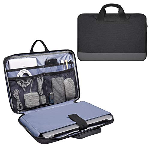 15.6 Inch Laptop Sleeve Bag, Waterproof Men Women Business Briefcase with Accessories Organizer for HP Envy X360 15.6, Acer Aspire/Chromebook 15, Dell Inspiron 15, ASUS Lenovo MSI Carrying Case,Black