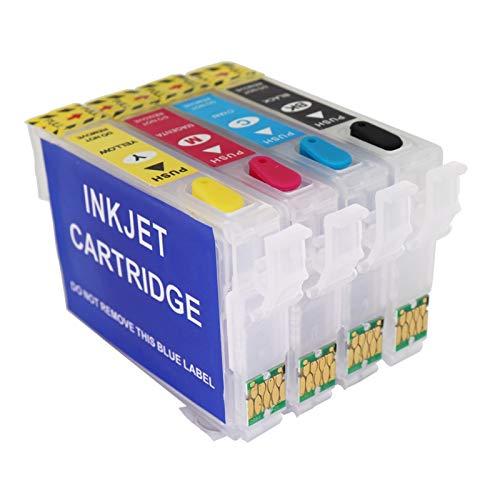 WSCHENG para Epson T34XL T3471 - T3474 Cartucho de Tinta Recargable con Chips de Arco para Epson Workforce Pro WF-3720 WF-3725 Impresora para Europa