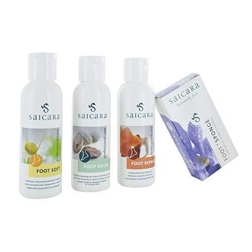 saicara 4er-Set für intensive Fuß-Pflege mit hochwertigen Haut-Cremes und Bimsstein für gesunde Füße und gegen Hornhaut