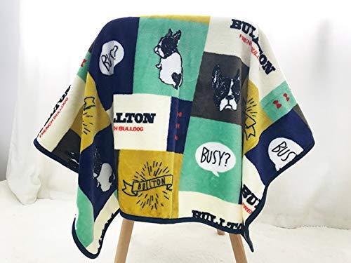 Leowow Pet Mat Dog Cat Bed Coral Velvet Pet Blanket Dog Cat Blanket-French Bulldog Pattern-Blue