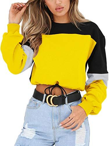 Angashion Womens Sweatshirt-Long Sleeve Drawstring Hem Color Block Crop Top Pullover Tops Yellow L