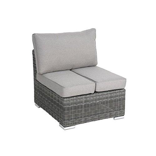 greemotion Sessel Bari mit Tischfunktion anthrazit, inklusive Auflage in Grau, Halbrundgeflecht aus Polyethylen, Gartensessel mit ausklappbarem Tisch, Rattansessel passend zur Serie Bari