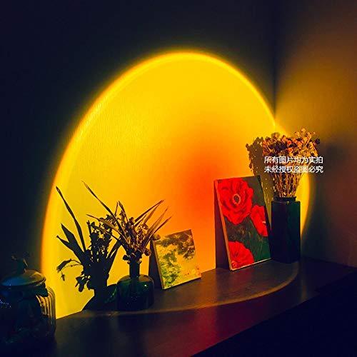 ZBSY Sunset proyector lámpara arco iris atmósfera LED noche luz para el hogar dormitorio cafetería fondo decoración pared lámpara de mesa USB