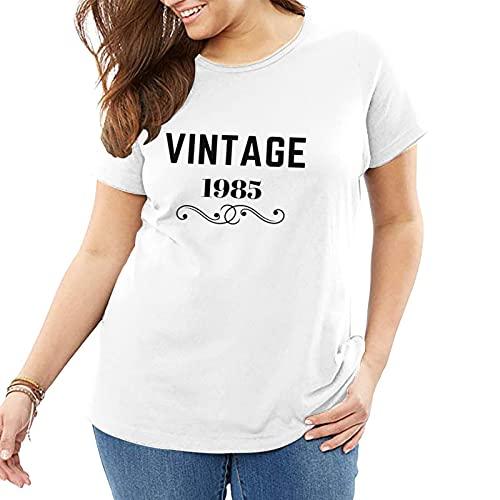 Myoffic Vintage 1985 camisa clásica más grande tamaño de las mujeres de verano de manga corta cuello redondo suelto casual camiseta blanca