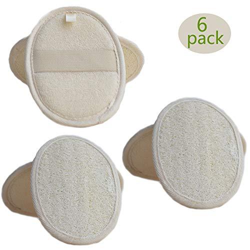 Almohadilla esponjosa esponjosa exfoliante, esponja esponjilla esponjilla lufa y esponja natural, esponja vegetal y material de tela de rizo Depurador esponja Loofa (6片)