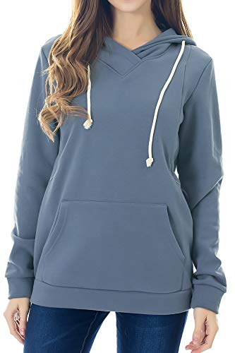 Smallshow Women's Fleece Maternity Nursing Sweatshirt Hoodie Dusty Blue XX-Large