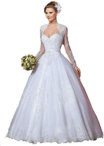 Melisa Sweetheart Neckline Applique Lace Train Wedding Dresses With Long Sleeves Jacket Bridal Ball Gown Plus Size,Golden Wedding Anniversary Dresses
