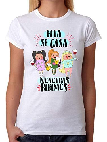 Camiseta Ella se casa nosotras Bebemos. Camiseta Despedida de Soltera de Las Amigas. Ideal para Fiestas (L)