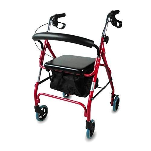 Mobiclinic, Modelo Sinagoga, Rollator con 4 ruedas, Andador para adultos, mayores, minusválidos o ancianos, andador caminador de aluminio, ayuda para caminar, ligero, plegable, con asiento, Rojo