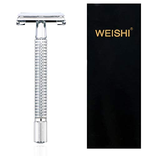 Weishi Chrome Long Handle Butterfly Open Double Edge Safety Reusable Razor