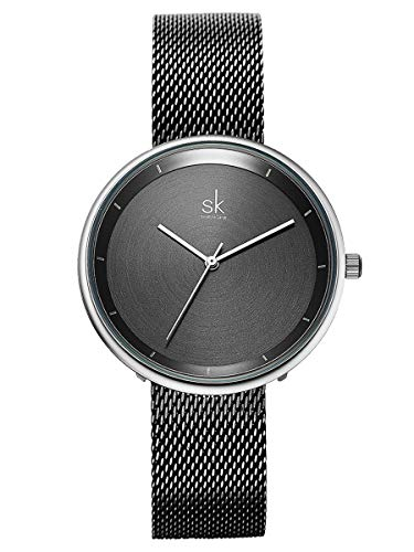 Alienwork Armbanduhr Damen Silber Metall Mesh Armband Edelstahl schwarz Ultra-flach Elegant