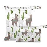 QMIN Bolsa seca húmeda Alpaca Llama Animal Tropical Cactus Impermeable Pañal Pañal...