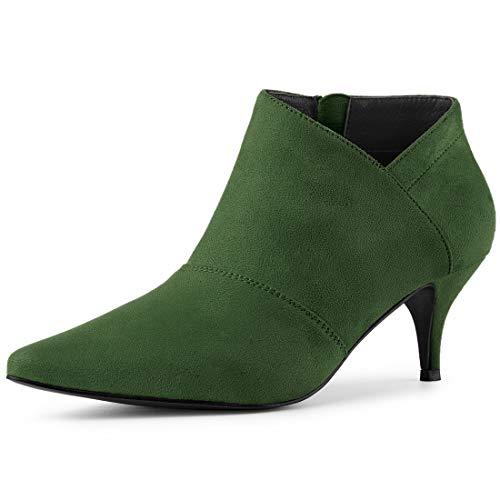 Allegra K Damen Pointed Toe Stiletto Asymmetrisch Ankle Boots Stiefel Grün 40