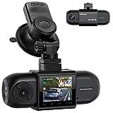 Campark Dashcam Coche Dual FHD 1080P Delantera y Trasera, Cámara de Coche Dash CAM con GPS y batería, visión Nocturna por Infrarrojos, Dash Cámara con G-Sensor, WDR, con Monitor de Aparcamiento