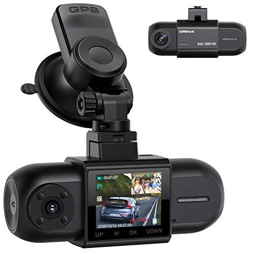 Campark Dashcam Dual FHD 1080P Vorne und Hinten, Autokamera mit GPS, Akku und IR-Nachtsicht, 170° Auto Camera, 1,5