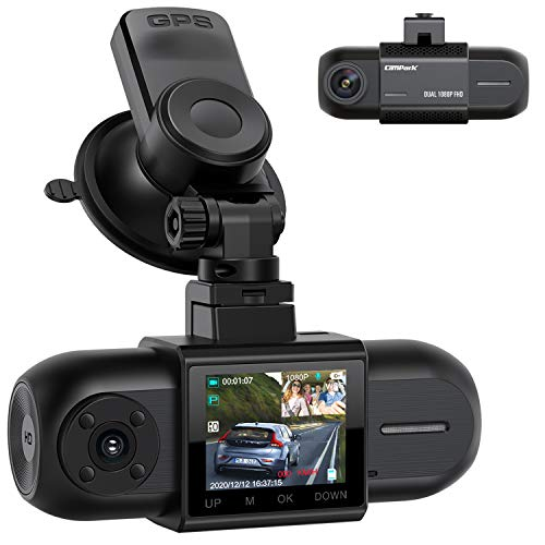 """Campark Dashcam Dual FHD 1080P Vorne und Hinten, Autokamera mit GPS, Akku und IR-Nachtsicht, 170° Car Camera, 1,5\"""" IPS Dash Cam mit G-Sensor, Parküberwachung Loop-Aufnahme 256GB Unterstützt"""
