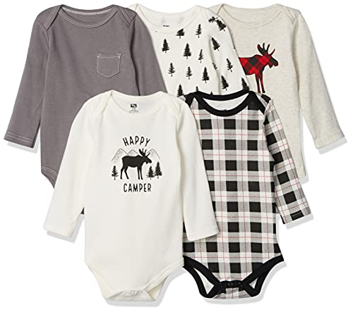 Hudson Baby Unisex Baby Cotton Long-sleeve Bodysuits, Moose, 3-6 Months