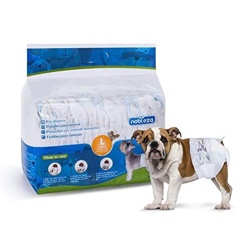 Nobleza - Pañales para Perros Desechables Hembra Cachorro Entrenamiento Pañales Súper Absorbente Envolturas para Mascotas Paquete de 12 30 * 50 cm