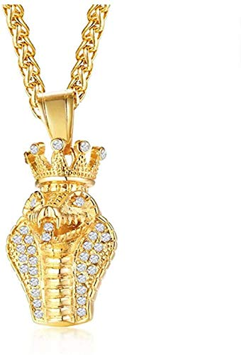 NC188 Necklace Rock Gold Tone Cobra Pendant with AAA Cz Stone Snake Necklace Men s Hip Hop Street Wear Jewelry 24 Wheat Chain