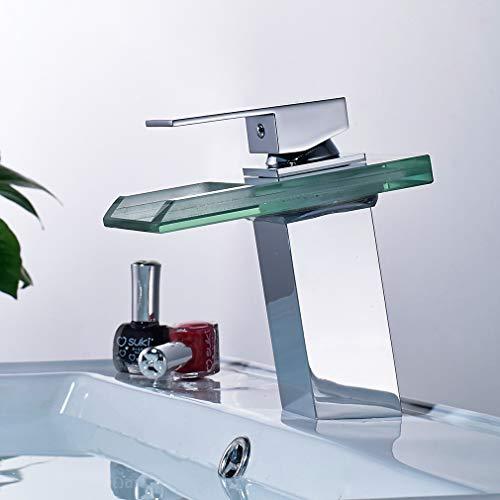 Auralum® Armatur LED RGB Glass Wasserhahn Waschtischarmatur für Bad/Badezimmer/Küchen - 8