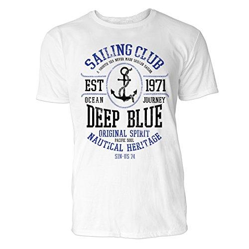 Herren T Shirt Sailing Club 1971 (Weiss) Freizeit/Sport/Club T-Shirt Crew Neck NOOS Original