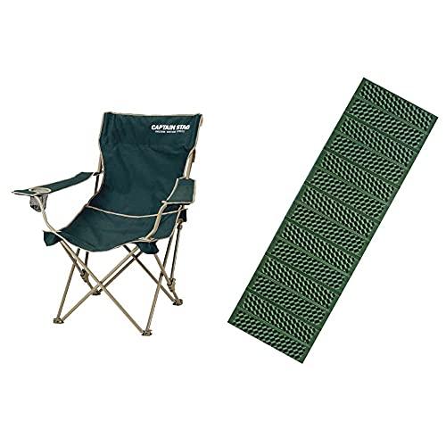 キャプテンスタッグ キャンプ用品 椅子 チェア CS リクライニングラウンジ グリーンM-3885 & キャンプマット 1人用 レジャーシート EVA フォーム マット シングル 56×182cm M-3318【セット買い】