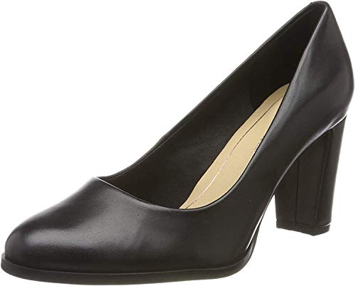 Clarks Damen Kaylin Cara Pumps, Schwarz (Black Leather), 42 EU