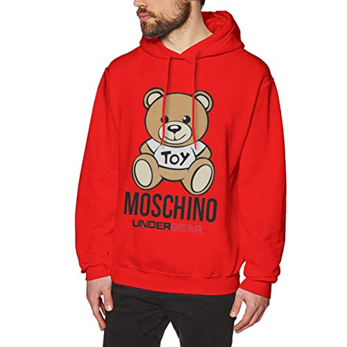 PINDSAY Men's Hoodie Sweatshirt Mos-chi-no To-y Under-Be-ar Handsome Tops Popular Band Graphic Sweater Pullover Red S