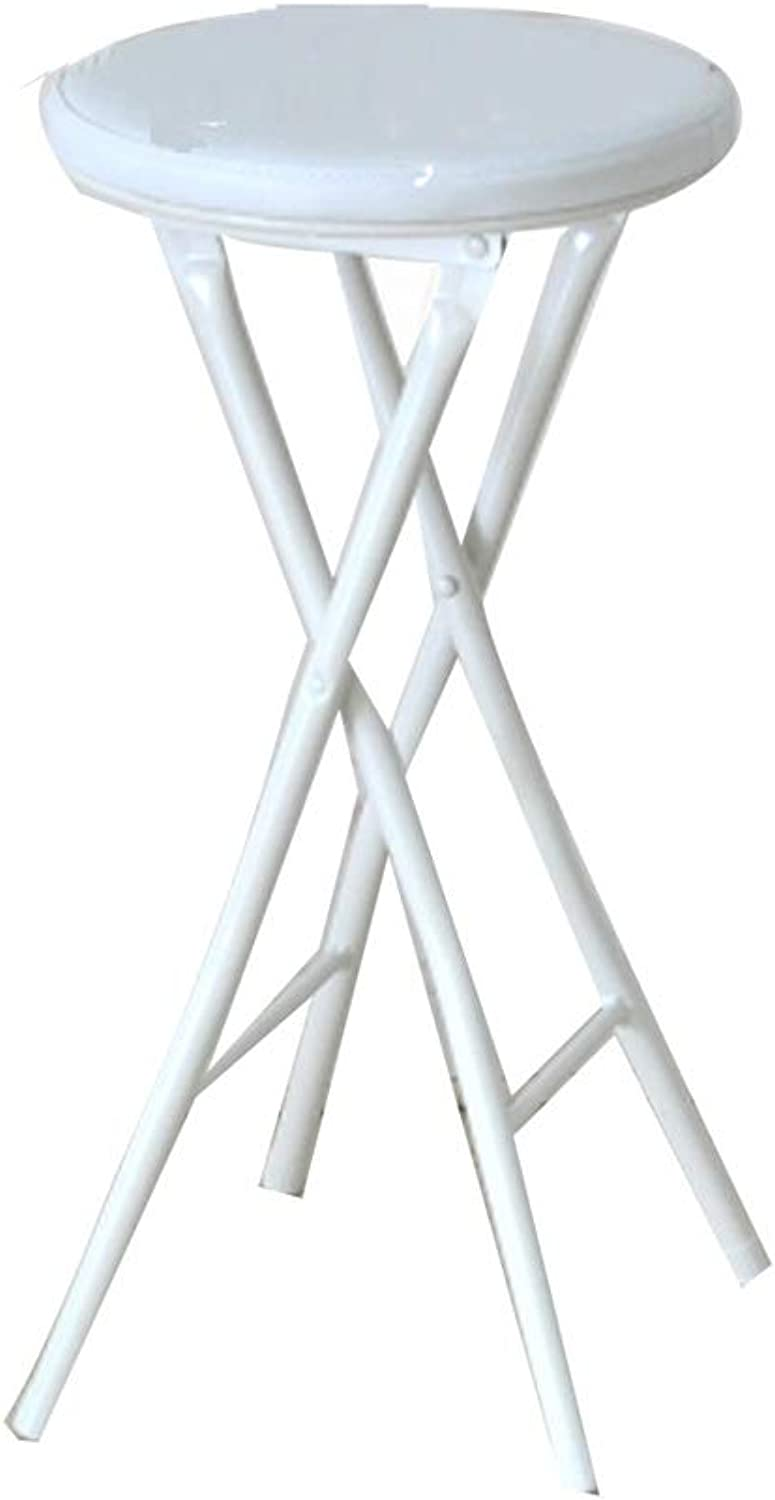 Barstool Nordic Wrought Iron Folding Chair Home Simple Portable White Black 27  26  61cm (color   White)