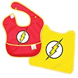 Bumkins DC Comics The Flash SuperBib, Baby Bib, With Cape, Waterproof, Washable, Stain and Odor Resistant, 6-24 Months (Pack of 1)