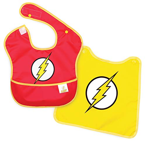 Price comparison product image Bumkins DC Comics The Flash SuperBib,  Baby Bib,  With Cape,  Waterproof,  Washable,  Stain and Odor Resistant,  6-24 Months (Pack of 1)