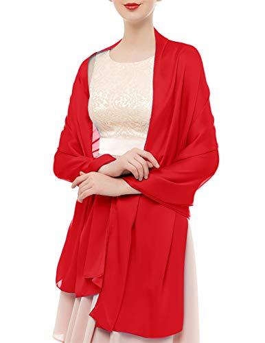 bridesmay Seide Halstuch 180 * 90cm Stola Schal Seidenschal Festlich Hochzeit für Kleider in verschiedenen Farben Red