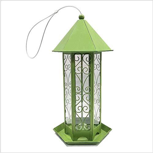 Getherad Anti-roesthangende vogelhuisjes, ijzeren afdekking onder, vogelvoer-groene dispenser, milieuvriendelijk PVC-huisje, PVC-materiaal, PP Plus-metaalspray, 20 x 17 x 38 cm