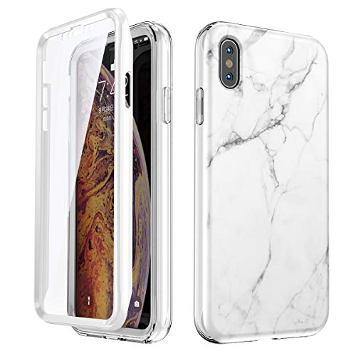 SANKTON Full Body Shockproof Protective Case with Built-in Screen Protector for 5.8 inch iPhone X and iPhone Xs (White Marble)