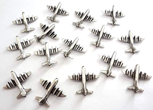 Airplane Decorative Metal Push Pins, Silver, T-503AS, Set of 15