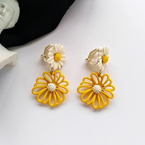 ZhenS Moda Flores Encantadoras Pendientes de botón 925 Aguja de Plata Mujeres Pendientes de Flores Creativas Accesorios de joyería brincos para Mujeres-Amarillo