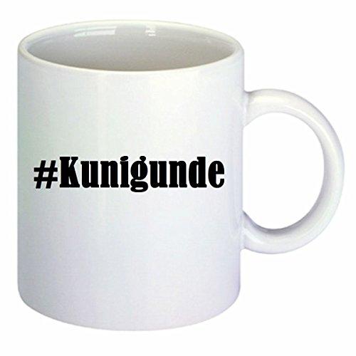 Kaffeetasse #Kunigunde Hashtag Raute Keramik Höhe 9,5cm ? 8cm in Weiß