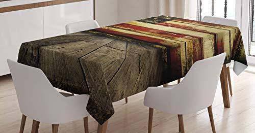 ABAKUHAUS Verenigde Staten Tafelkleed, Vintage Vlag Wood, Eetkamer Keuken Rechthoekige tafelkleed, 140 x 200 cm, Cream en Red