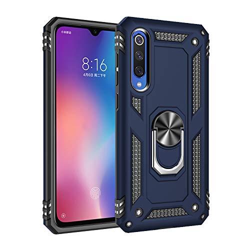 Capa Xiaomi Mi 9SE Case Protetor Material militar TPU macio +couro de PC proteção dupla camada de metal magnético para carro Suporte 360 graus girado anti-queda e anti-riscos capa:Azul