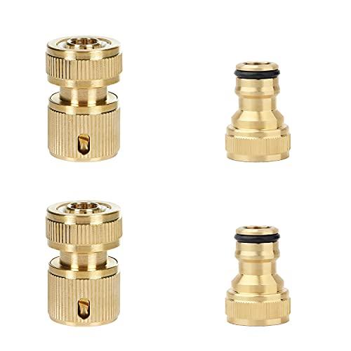 Dokey 4 STK. Messing Schlauchkupplung, 2-in-1 Schlauchverbinder, Messing Schnellkupplung, Schlauchverbinder Set für Gartenschlauch Wasserschlauch (1/2 und 3/4 Zoll)