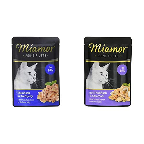 Miamor Feine Filets in Jelly Pouch Thunfisch in Krebsjelly, 24er Pack (24 x 100 g) & Katzenfutter Feine Filets Thunfisch & Calamaris 100 g, 24er Pack (24 x 100 g)