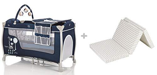 Fillikid Alu-Reisebett Supreme 120x60 cm & Matratze/kompaktes Laufstall mit Transporttasche/Babyreisebett inklusive Einhang, Spielbogen, Wickelauflage, Räder, Einstieg, Design:marine + Matratze