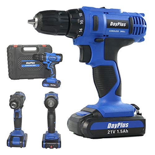 Cordless Drill/Driver Bits with 1 Lithium Ion Battery - 21V Electric Power Screwdriver Set Combi Drill Kit (18+1 Torque, 2-Speed, 3/8' Keyless Chuck) for Home Improvement & DIY Project
