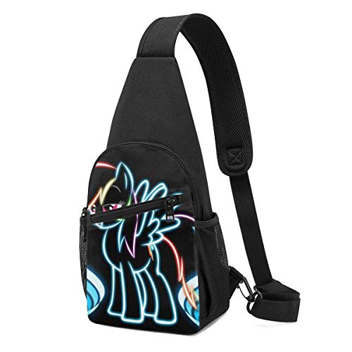 JONINOT Neon Unicorn Daypack Sling Rucksack, Leichter Schulter Brustrucksack Sporttasche Umhängetasche