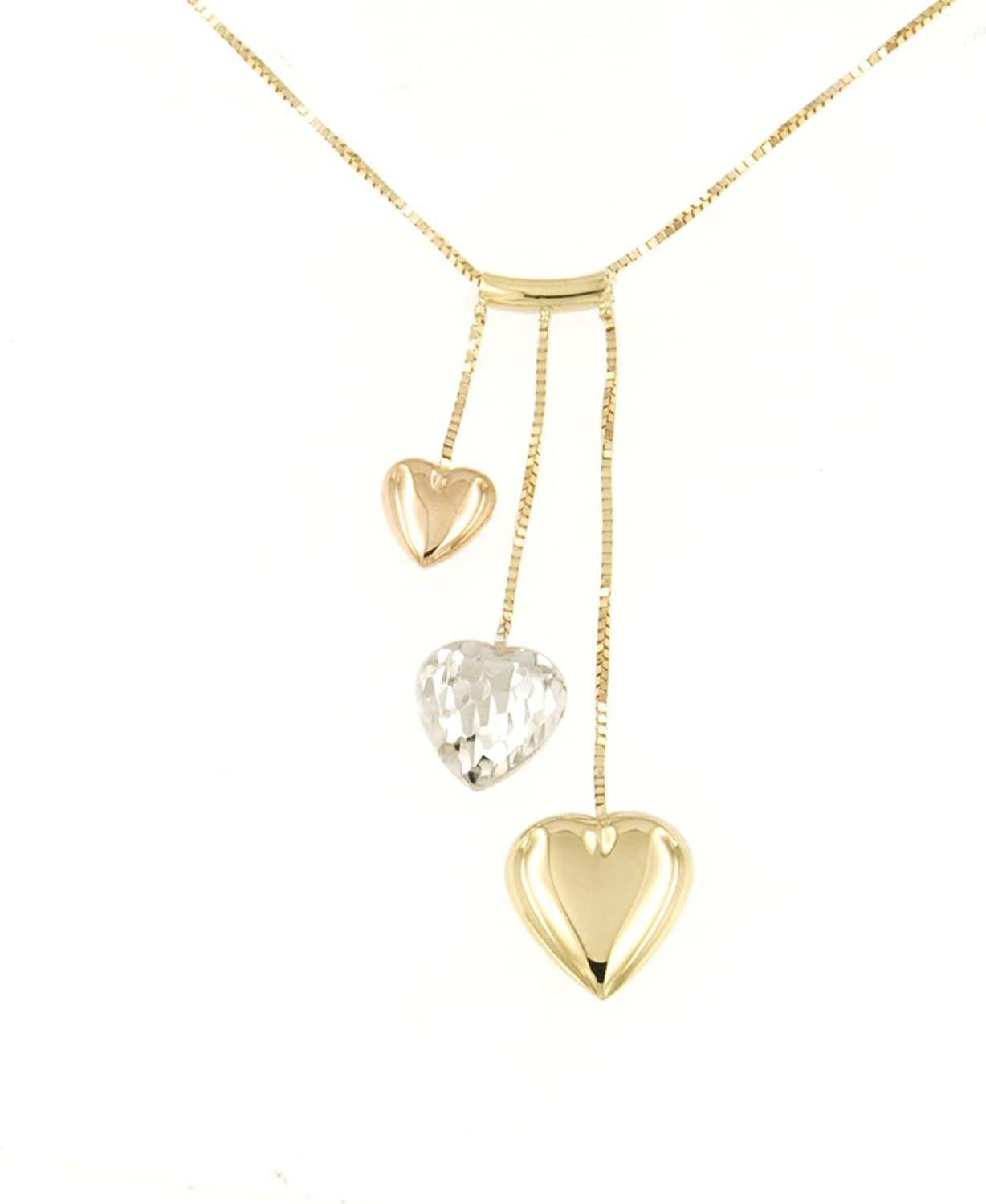 Lucchetta - Premium Real 14 karat Yellow White Rose Gold Heart Necklace, Tiny Gold Chain 16+2 Inch, 14k Italian Solid Gold Necklaces for Women Teen Girls, Made in Italy Fine Jewelry, XS1765-VE40