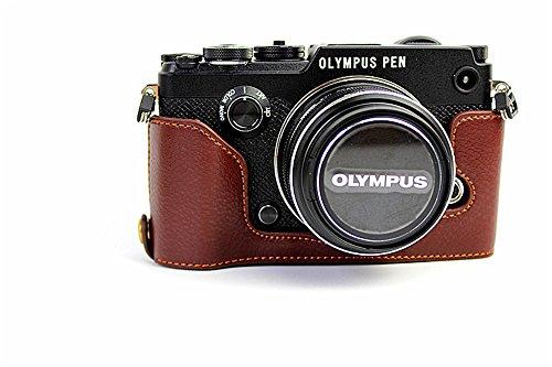 Zakao - Funda de piel auténtica para cámara Olympus Pen-F (café)