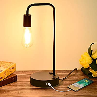 Industrial Touch Control Table Lamp with 2 USB Charging Ports and 2 Power Outlets, 3 Way Dimmable Vintage Nightstand Lamp for Living Room, Bedroom, Office, 6W LED Bulb Included